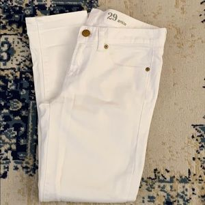 J Crew toothpick skinny ankle white jeans. 29